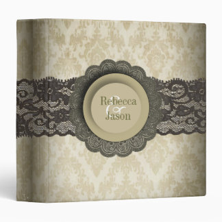 Country lace floral damask vintage wedding 3 ring binder