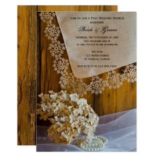 Country Lace Flowers Post Wedding Brunch Invite