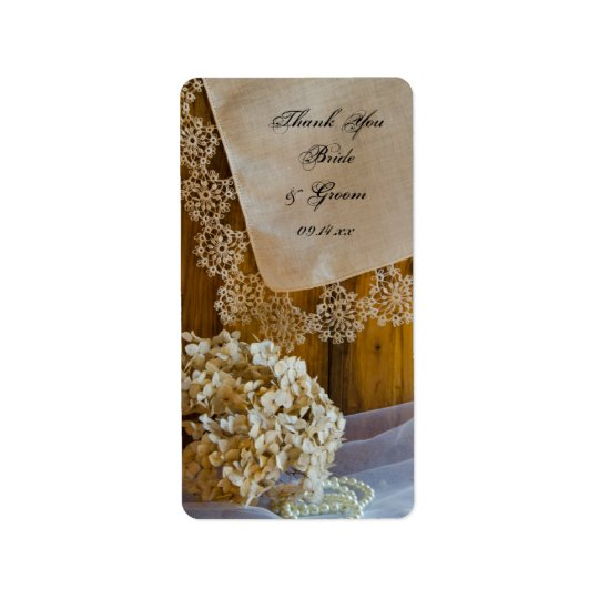 Country Lace Flowers Wedding Thank You Favour Tag