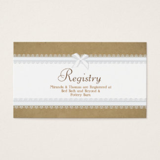 Country Lace Wedding Registry Card