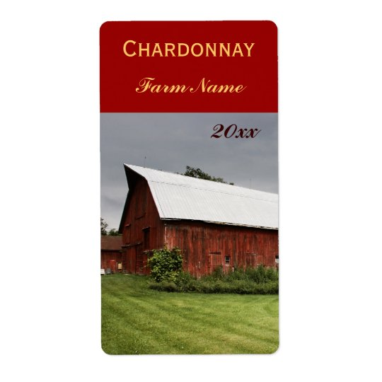 Country landscape with red barn wine bottle label shipping label