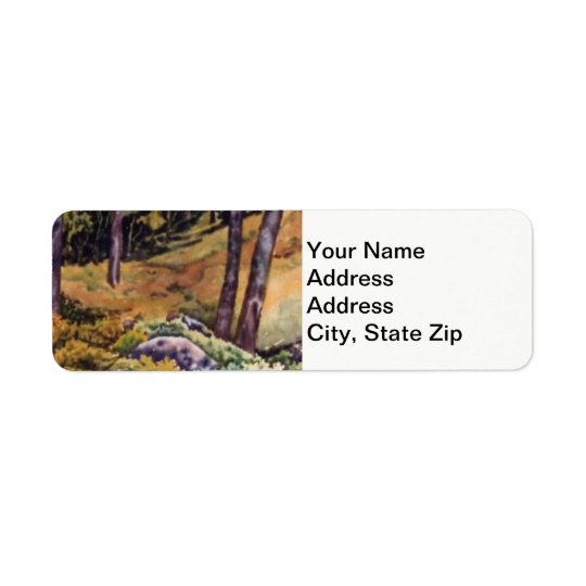 Country landscapes and scenic country woods field. return address label