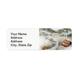 Country landscapes and scenic views rising fog. return address label