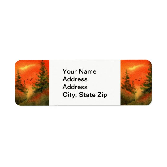 Country landscapes pines hills ridge crows birds. return address label