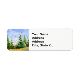 Country landscapes pines meadows crows birds. return address label