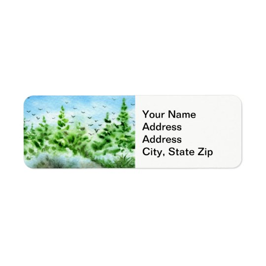 Country landscapes spring pines crows birds. return address label