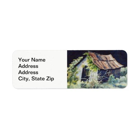 Country landscapes woodland fields barn shed. return address label