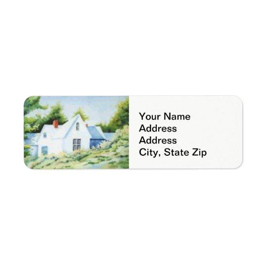 Country landscapes woodland house back yard. return address label