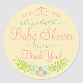 Country Laurel-Baby Shower Round Stickers