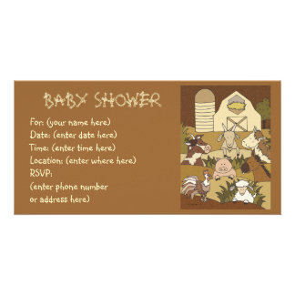 Country Life 21 Baby Shower Customized Photo Card