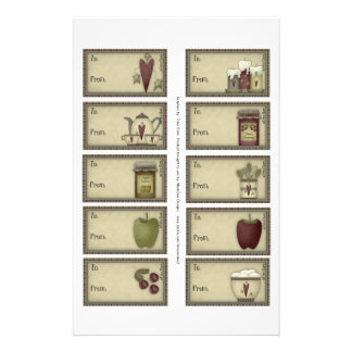 Country Life Gift Tags on a Sheet - 10 Designs
