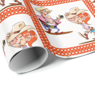 Country Line Dancer And Banjo Player Wrapping Paper