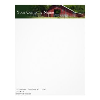 Country Living Red Barn Header Letterhead Template