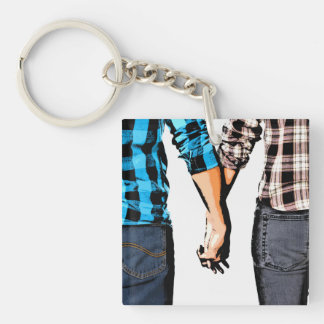 Country Love  Couple Holding Hands Single-Sided Square Acrylic Keychain