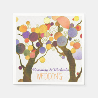 Country Love Trees White Wedding Paper Napkins