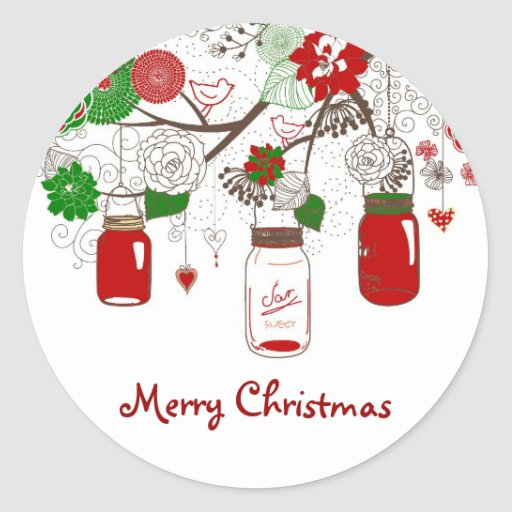 Country Mason Jar Christmas Sticker