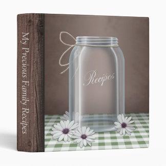 Country Mason Jar Green Gingham Recipe Binder