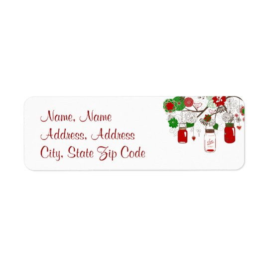 Country Mason Jar Red and Green Christmas Label