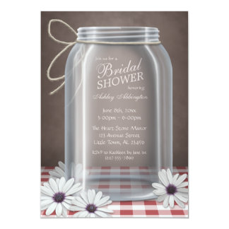 "Country Mason Jar Red Gingham Bridal Shower 5"" X 7"" Invitation Card"