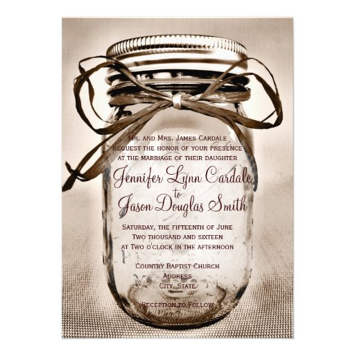 Country Mason Jar Rustic Wedding Invitations Invitations
