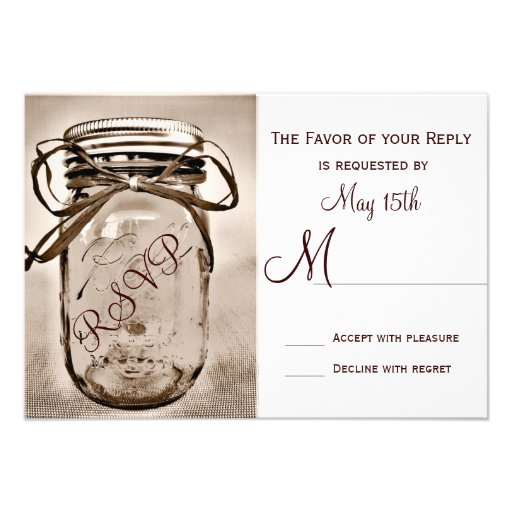 Country Mason Jar Rustic Wedding RSVP Cards