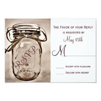 Country Mason Jar Rustic Wedding RSVP Cards Custom Invites