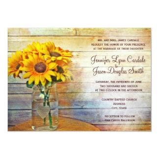 Country Mason Jar Sunflower Wedding Invitations