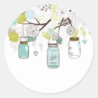Country Mason Jars Blue Flowers Round Sticker