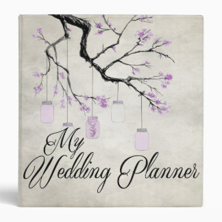 Country Mason Jars Lavender Wedding Planner Binder