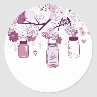 Country Mason Jars Purple Flowers Round Sticker