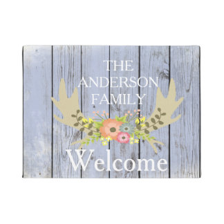 Country Moose Horns  Personalized Door Mat