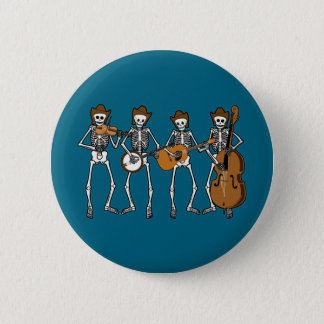 Country Music Playing Skeletons 2 Inch Round Button