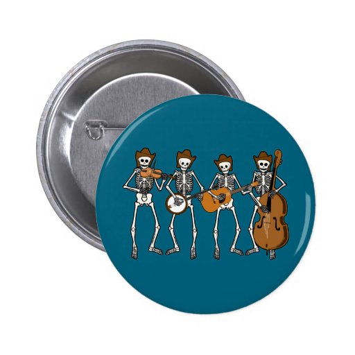 Country Music Playing Skeletons Pins