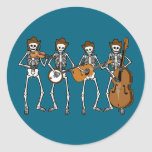 Country Music Playing Skeletons Round Stickers