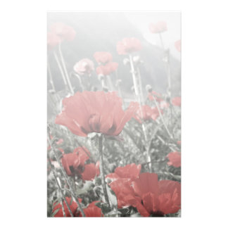 country nature landscape red poppy flower stationery paper
