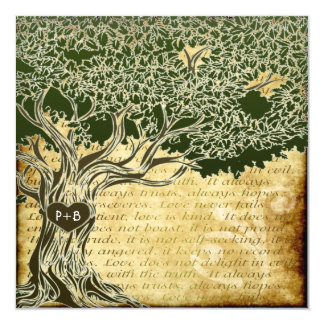Country Oak Tree Vintage Wedding Invitations