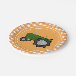 Country orange gingham tractor party plate