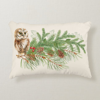 Country Owl Christmas Pillow