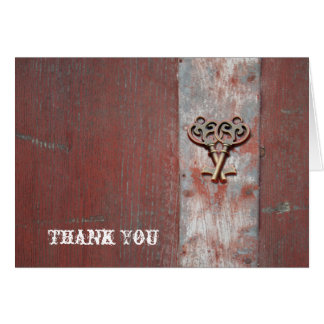 Country Painted Wood with Skeleton Key Thank You Card
