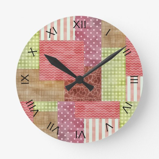 Country Patchwork Chic Pattern Quiltblocks Wall Clock