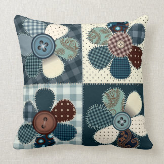 Country patchwork flowers picture pillow