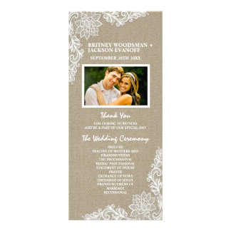 Country Photo Burlap and Lace Wedding Programs Full Colour Rack Card