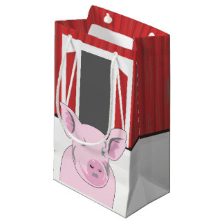 Country Pig with a Barn SGB Small Gift Bag