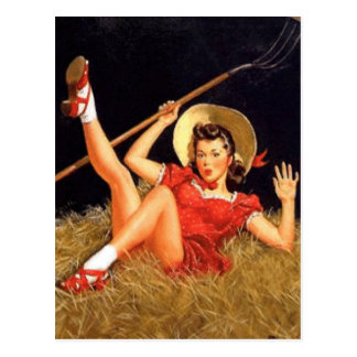 Country Pin Up Girl Postcard