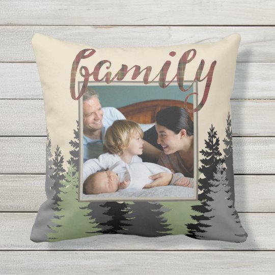 Country Plaid and Pine Family Photo Outdoor Pillow