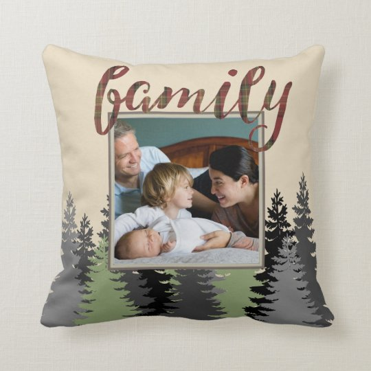 Country Plaid and Pine Family Photo Throw Pillow