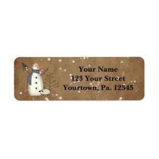 Country Primitive Snowman Address Label