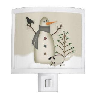 Country Primitive Snowman Night Light