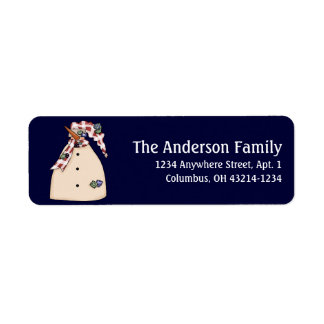 Country Primitive Snowman Return Address Labels