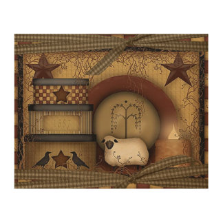 Country/Primitive WOOD WALL ART 10X8 Wood Canvases